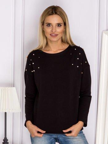 Czarna bluzka z kolorowymi perełkami