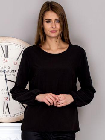Czarna bluzka z ozdobnymi rękawami