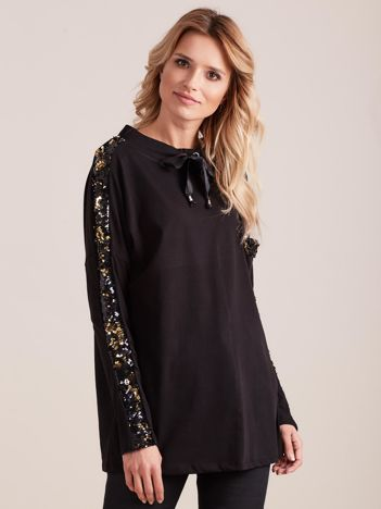 Czarna bluzka z wiązaniem i cekinami