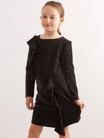 5c55e67726 Czarna brokatowa sukienka dziecięca z falbanami