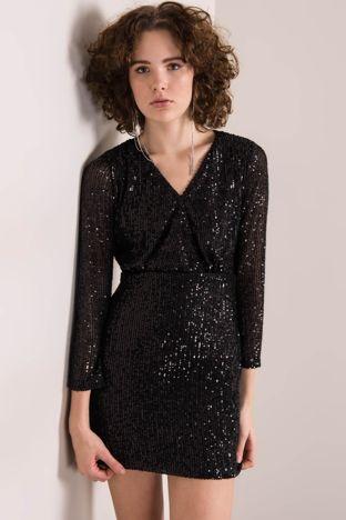 Czarna cekinowa sukienka BSL