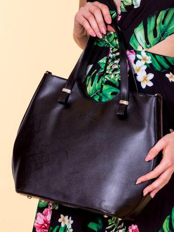 Czarna damska torba skórzana z odpinanym paskiem