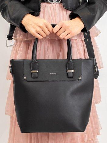 Czarna damska torebka z odpinanym paskiem