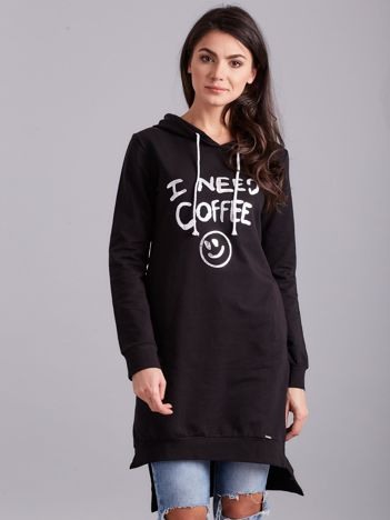 Czarna długa bluza z kapturem I NEED COFFEE