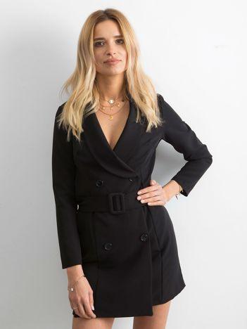 Czarna dwurzędowa sukienka
