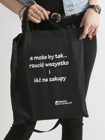 Czarna ekologiczna torba z napisem