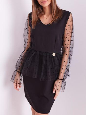 Czarna elegancka sukienka z tiulowymi rękawami