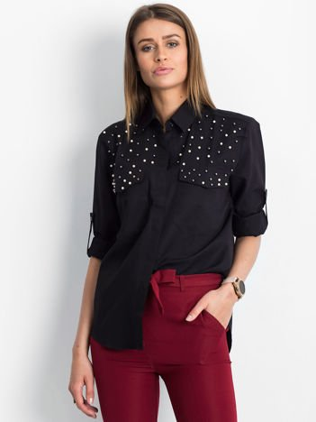 Czarna koszula z perełkami