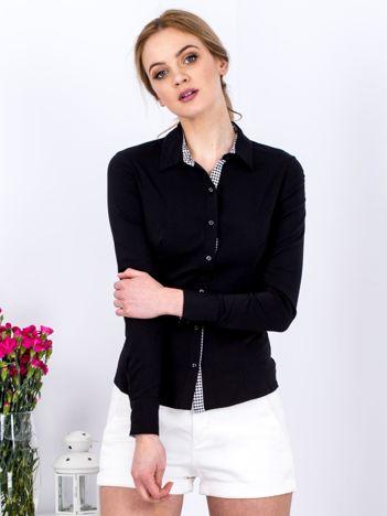Czarna koszula z wstawkami w pepitkę