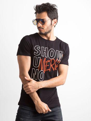 Czarna koszulka męska z napisami