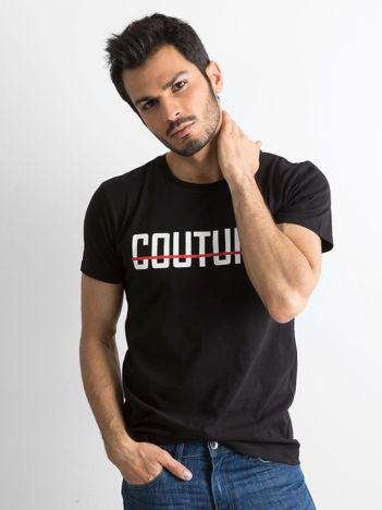 Czarna koszulka męska z napisem