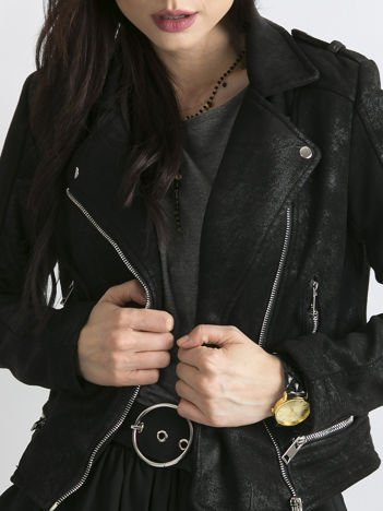 Czarna krótka kurtka damska ramoneska