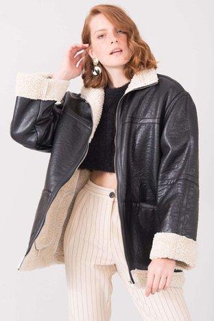 Czarna kurtka z kożuchem BSL