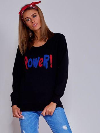 Czarna lekka bluza z naszywką POWER
