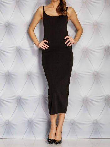 Czarna letnia sukienka maxi na cienkich ramiączkach