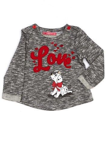 Czarna melanżowa bluza dziewczęca z napisem LOVE i psem