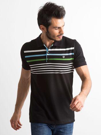 Czarna męska koszulka polo w paski