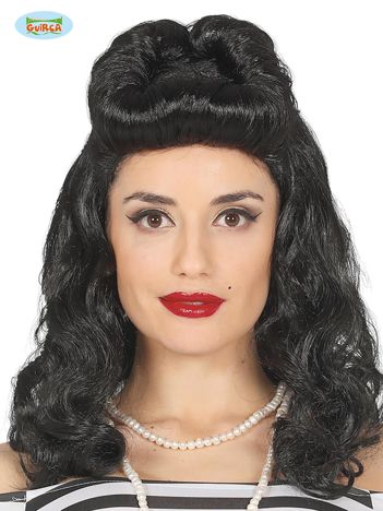 Czarna peruka w stylu pin up