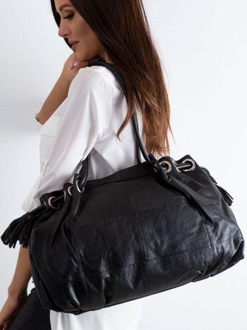 Czarna podłużna torba ze skóry
