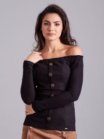 Czarna prążkowana bluzka hiszpanka