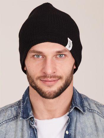 Czarna prążkowana czapka męska beanie