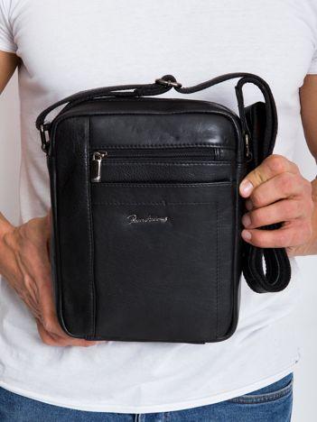 Czarna prostokątna męska torba skórzana