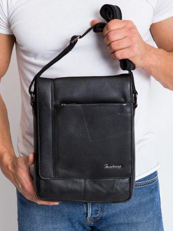 Czarna prostokątna męska torba ze skóry