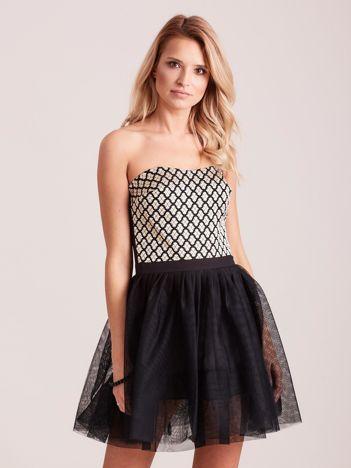 Czarna rozkloszowana sukienka gorsetowa