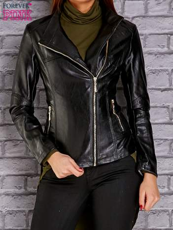 Czarna skórzana kurtka ramoneska ze stójką