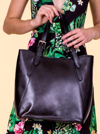 Czarna skórzana torba shopper bag