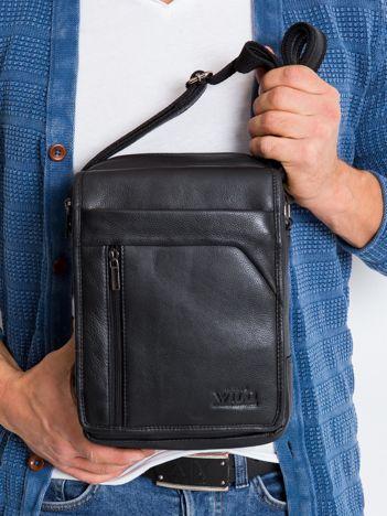 Czarna skórzana torebka męska