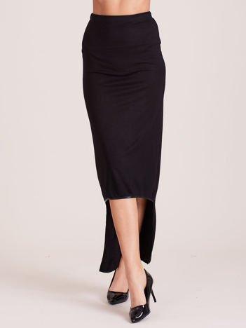 Czarna spódnica maxi z krótszym tyłem i obszyciem ze skóry