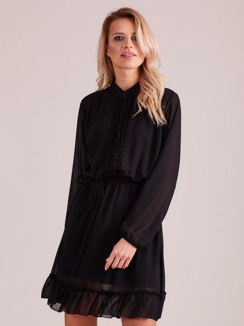 Czarna sukienka damska z falbankami