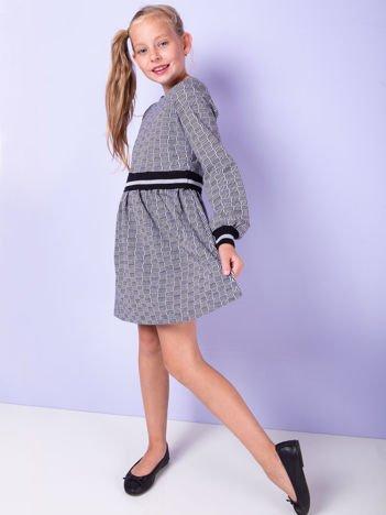 Czarna sukienka dla dziewczynki w geometryczne wzory