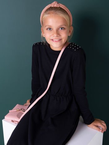 Czarna sukienka dla dziewczynki z perełkami