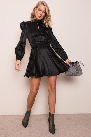 Czarna sukienka koktajlowa BSL