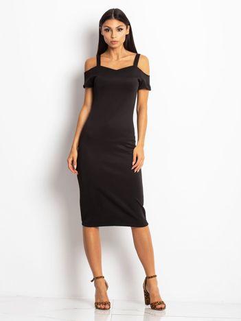 Czarna sukienka koktajlowa cut out