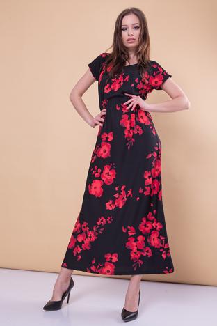 Czarna sukienka maxi w kwiaty