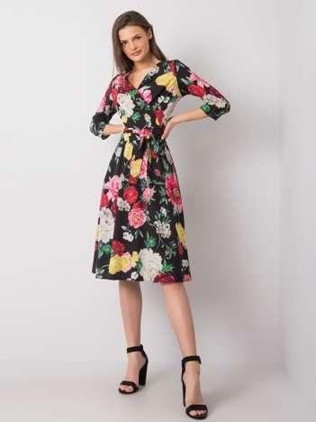 Czarna sukienka w kwiaty Asther