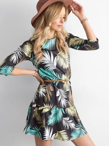 Czarna sukienka we wzór liści palmy