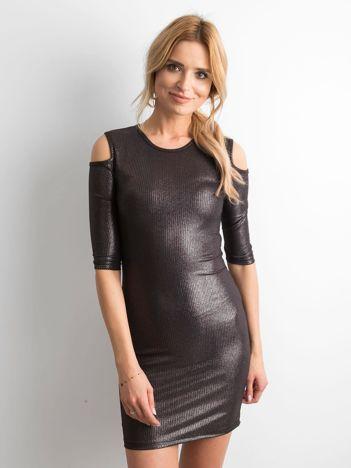 Czarna sukienka z metalicznym połyskiem