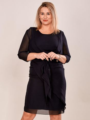Czarna sukienka z narzutką PLUS SIZE