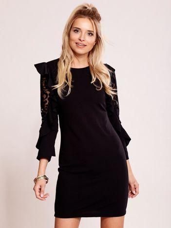 Czarna sukienka z transparentnymi wstawkami na rękawach