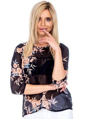 Czarna szyfonowa bluzka w kwiaty