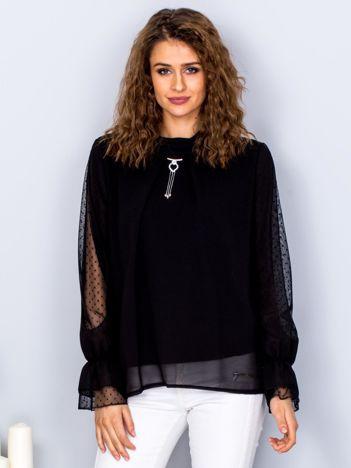 Czarna szyfonowa bluzka z wisiorkiem