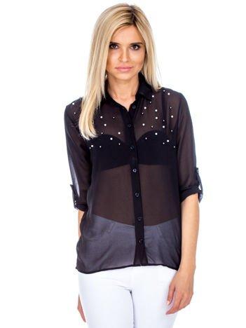 Czarna szyfonowa koszula z perełkami