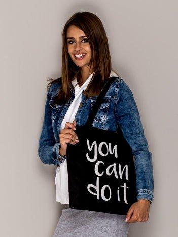 Czarna torba materiałowa YOU CAN DO IT
