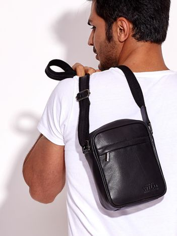Czarna torba męska na ramię skórzana