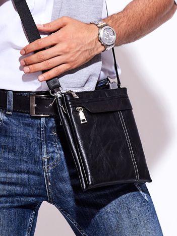 Czarna torba męska z dwoma komorami