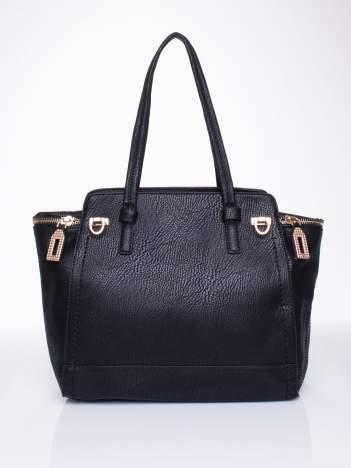 Czarna torba na ramię z dekoracyjnym suwakiem